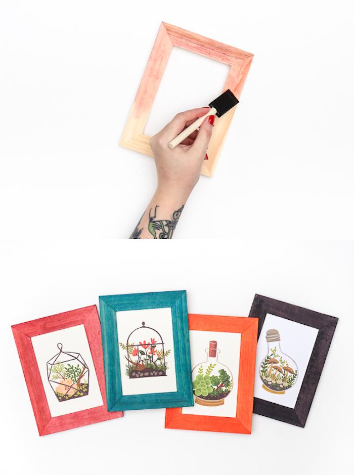 Bilderrahmen aus Holz mit Acrylfarbe bestreichen, einfache und schnelle DIY Idee zum Nachmachen