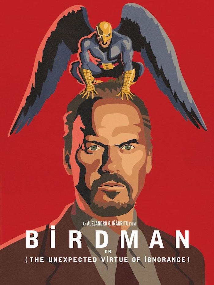 ein mann mit einem blauen kostüm eines superheldens und mit blauen federn, der poster von birdman, mann mit bart und grünen augen