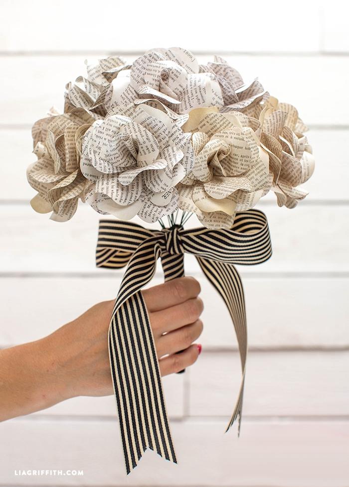 Handgemachte Rosen aus Zeitungspapier, Blumenstrauß aus Papier zum Muttertag schenken
