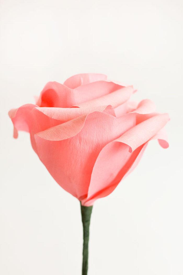 Große Rose aus Krepppapier selber basteln, Bastelideen mit Papier, Frühlingsdeko Ideen