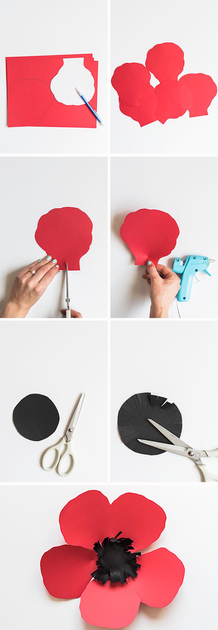 Mohn aus rotem und schwarzem Tonkarton selber basteln, DIY Anleitung in sechs Schritten für Papierblumen