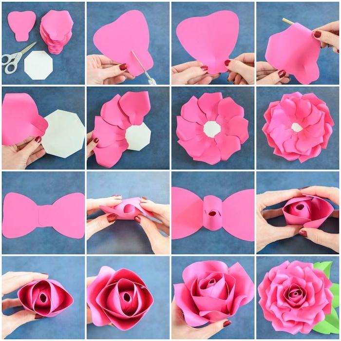 Wie macht man Rose aus Papier, DIY Anleitung in sechzehn Schritten, rosafarbenes weißes und grünes Papier