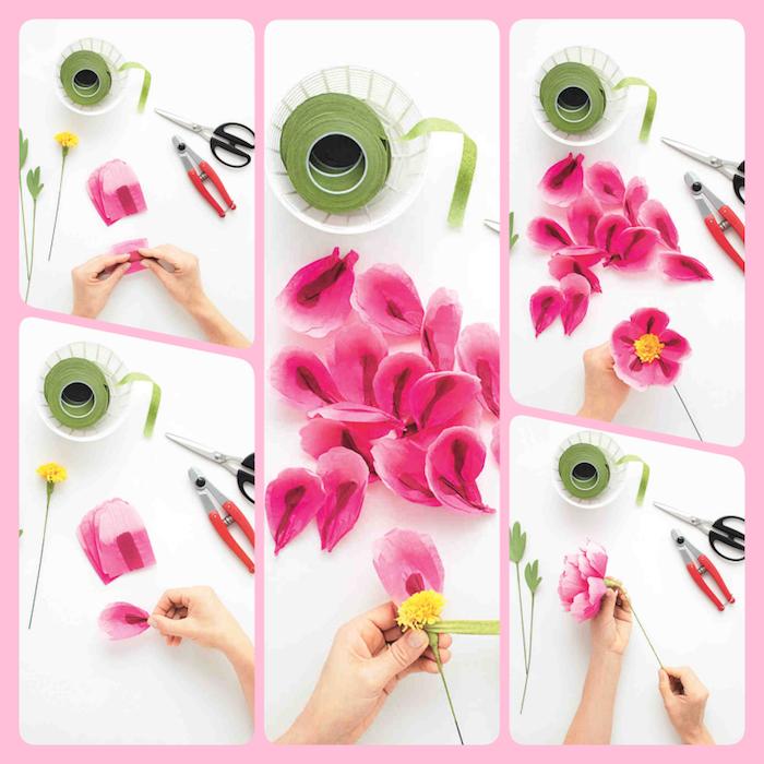 Wie macht man schöne Blumen aus Papier, DIY Anleitung in fünf Schritten zum Nachmachen