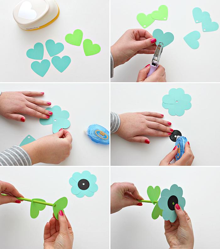 Papierblumen einfach und schnell selber machen, Anleitung in sechs Schritten, Blumenstrauß aus Papier zum Muttertag basteln