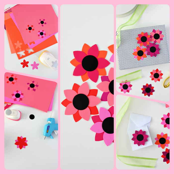 Einfache Anleitung für DIY Papierblumen, Blumen aus Tonkarton ausschneiden, Dekorationselemente für Geschenke oder Grußkarten