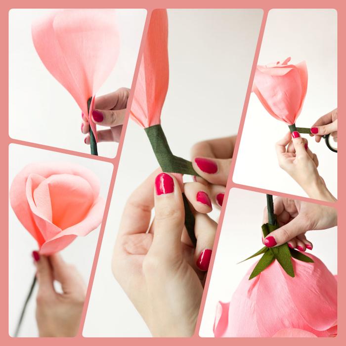 So macht man eine riesige Rose aus Krepppapier, ausführliche Anleitung Schritt für Schritt, Basteln mit Papier für Kinder und Erwachsene