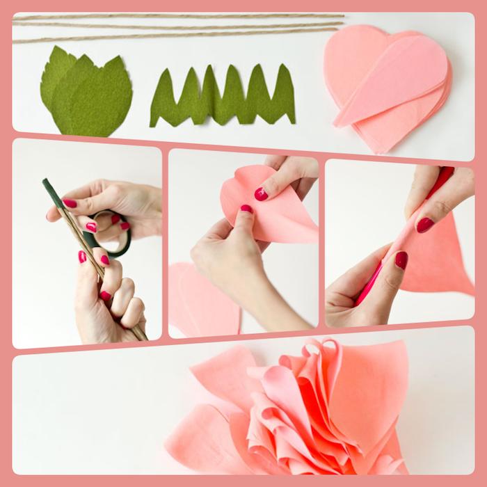 Riesige Rose aus Papier selber machen, ausführliche DIY Anleitung, rosa und grünes Krepppapier und dünne Stäbchen