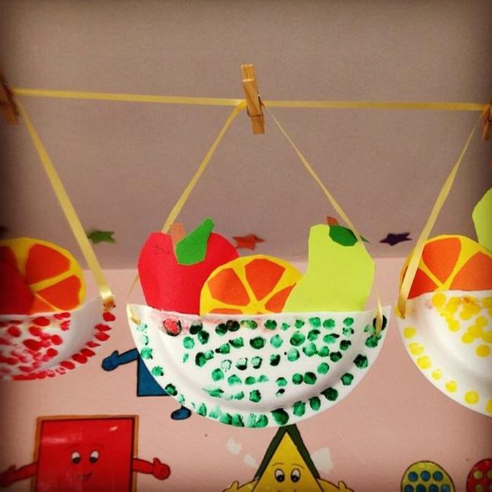 Basteln mit Kindern selber machen, ein Korb für Früchte, Obst und Gemüse aus Papier machen