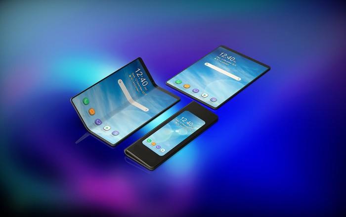 drei smartphones von samsung mit großen blauen bildschirmen und faltbaren displays und schwarzen metallrahmen