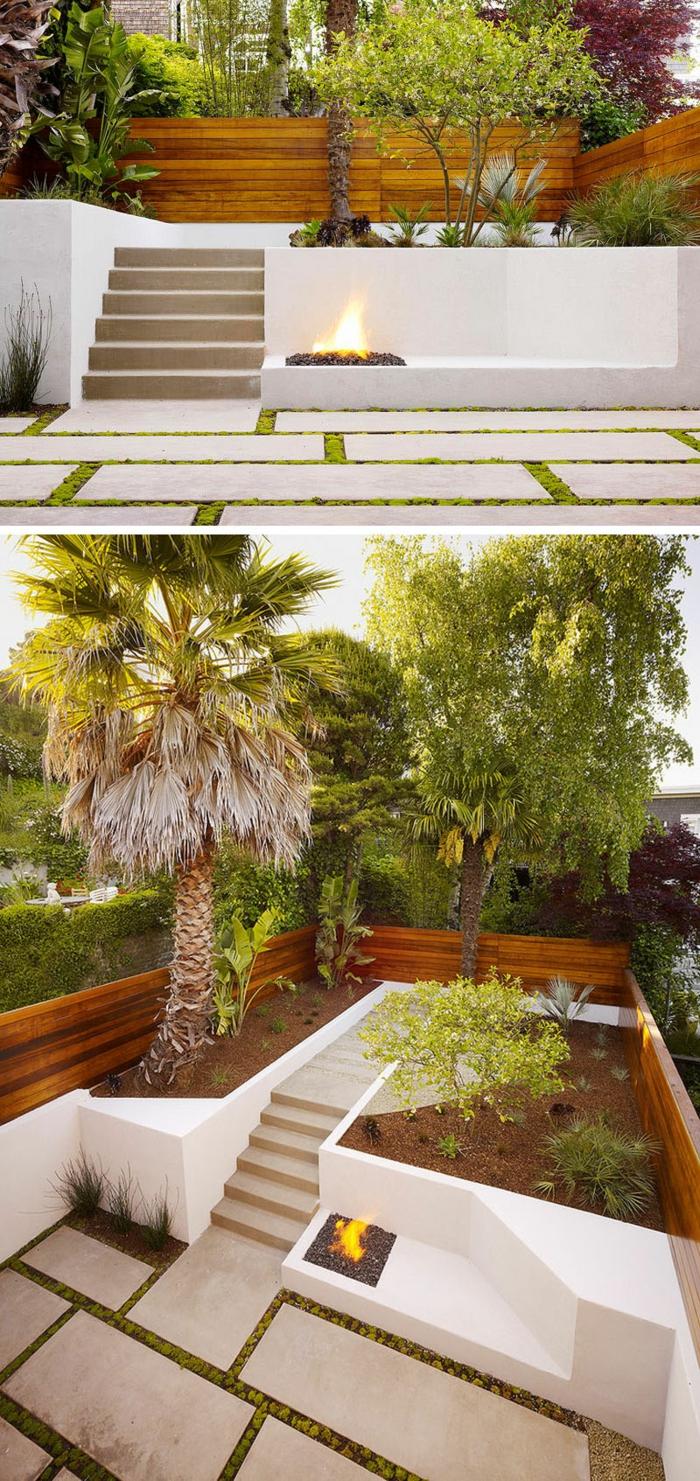 ein ordentlicher Garten, drei hohe Bäume, ein Feuer, Treppen, moderne Gartengestaltung
