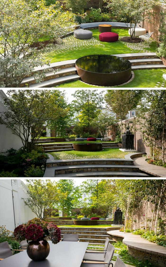 Moderne Gartengestaltung, drei Fotos von einem schönen Garten mit Wasserspiel und grüne Bäume