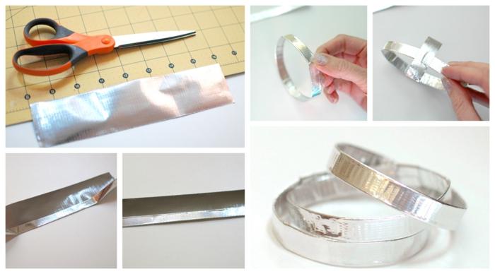 eine Anleitung, wie Sie ein Armband aus Panzerband selber machen, Schritt für Schritt