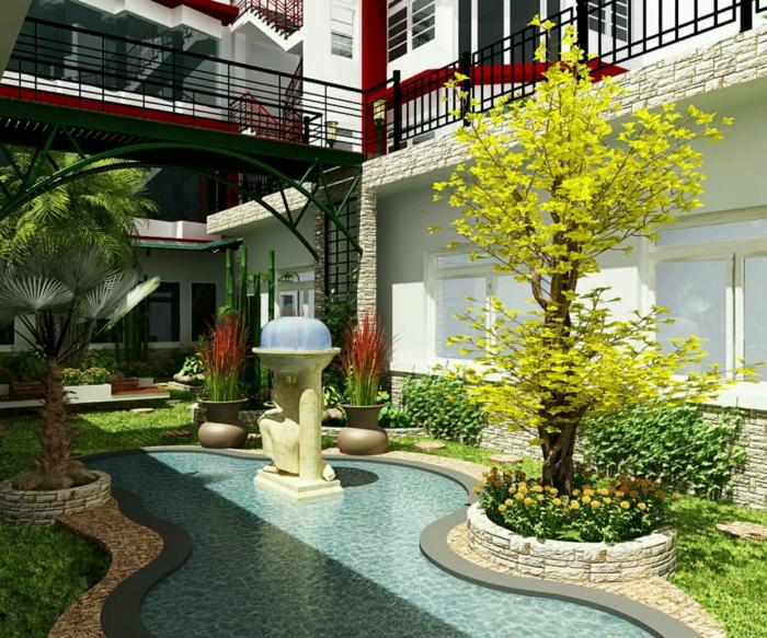 ein Teich mit klarem blauem Wasser und ein Wasserspiel, Garten gestalten, ein Baum mit gelben Blättern