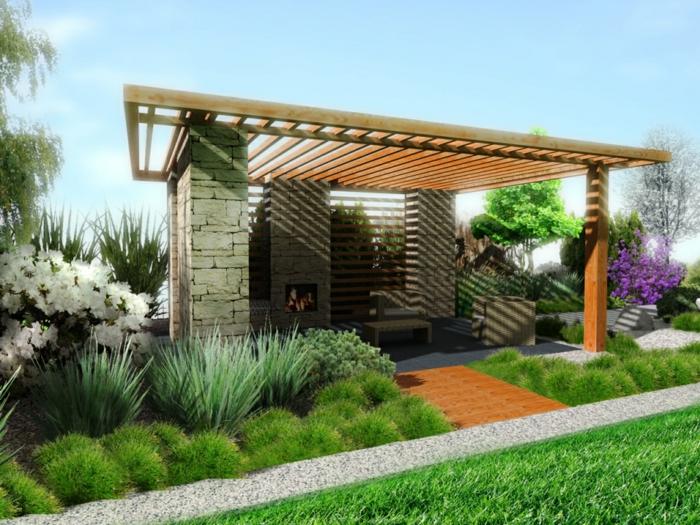 ein Pergola, ein Beispiel für Garten gestalten, grünes Gras, viele Ziersträuche, ein Kies Weg