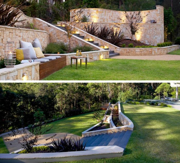 Gartengestaltung Ideen, ein gepflegter englischer Rasen, eine Bank mit Kissen, viele Lichte
