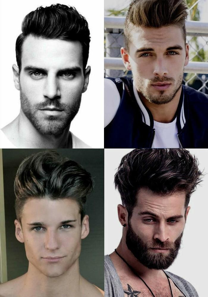 herren mode ideen, collage aus vier bildern mit ideen zum coolen männerstil