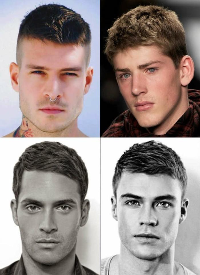 haarschnitt stzles für kurzes haar, kurzhaarige frisuren für männer, stilideen, viel bilder auf einmal collage
