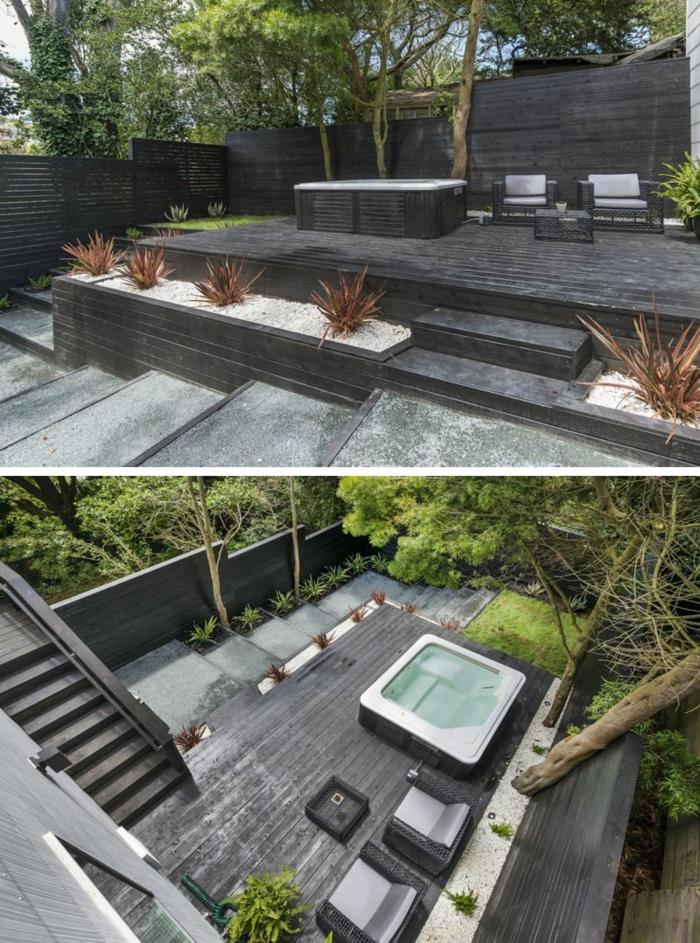 ein Whirlpool, graue Terrassendiele, Beete mit Kies bedeckt, Ziersträucher, Gartengestaltung Bilder