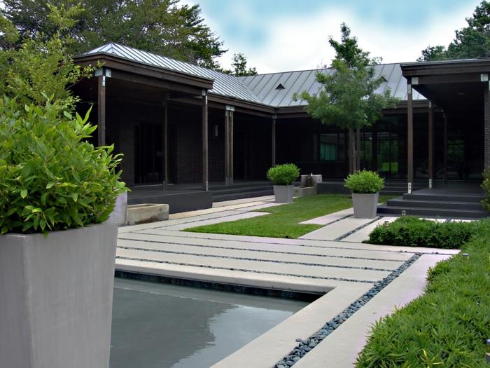 ein Teich mit blauem Wasser, Gartengestaltung Bilder, Garten im Hinterhof mit Kies dekoriert