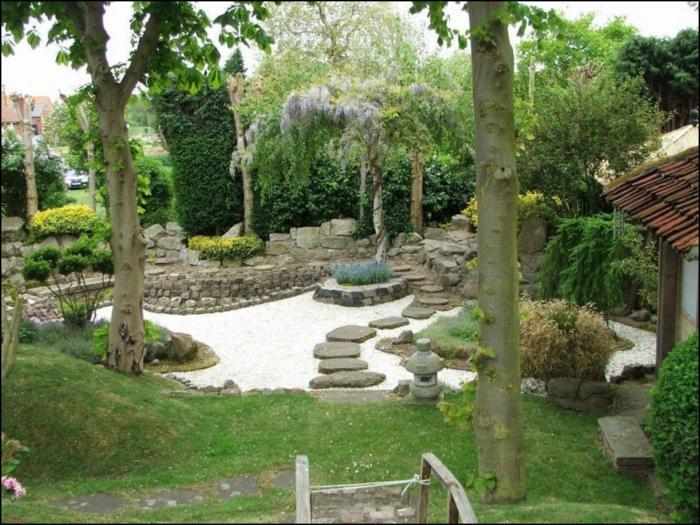 Gartengestaltung Bilder, Kies in der Mitte von Garten, niedrige Bäume und hohe Bäume, grünes Gras
