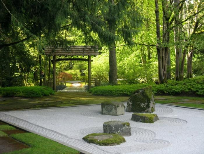 ein weißer Sand, hohe Bäume, Moos, ein Tor wie aus Japan, Garten Ideen für japanischen Garten