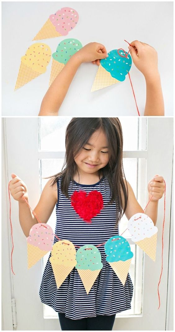 Bastelideen Kinder, schöne Eiskonen selber aus Papier ausschneiden und dann mit Faden gestalten, Deko und Design für Kindergeburtstag