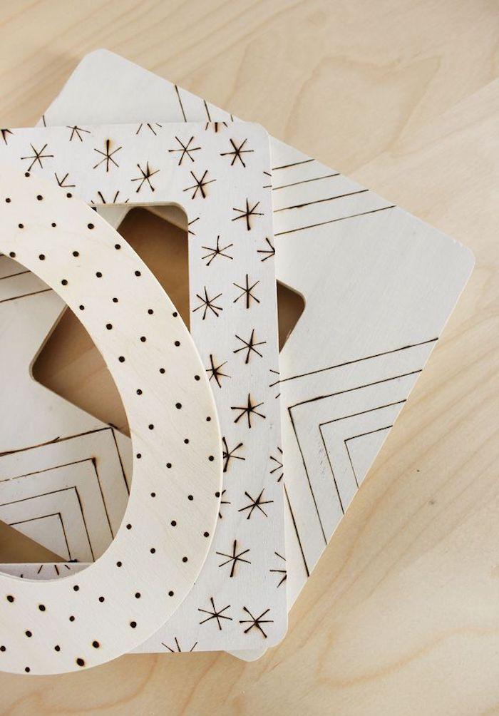 DIY Bilderrahmen aus Holz, verziert mit verschiedenen Motiven, schönes Geschenk zum Selbermachen