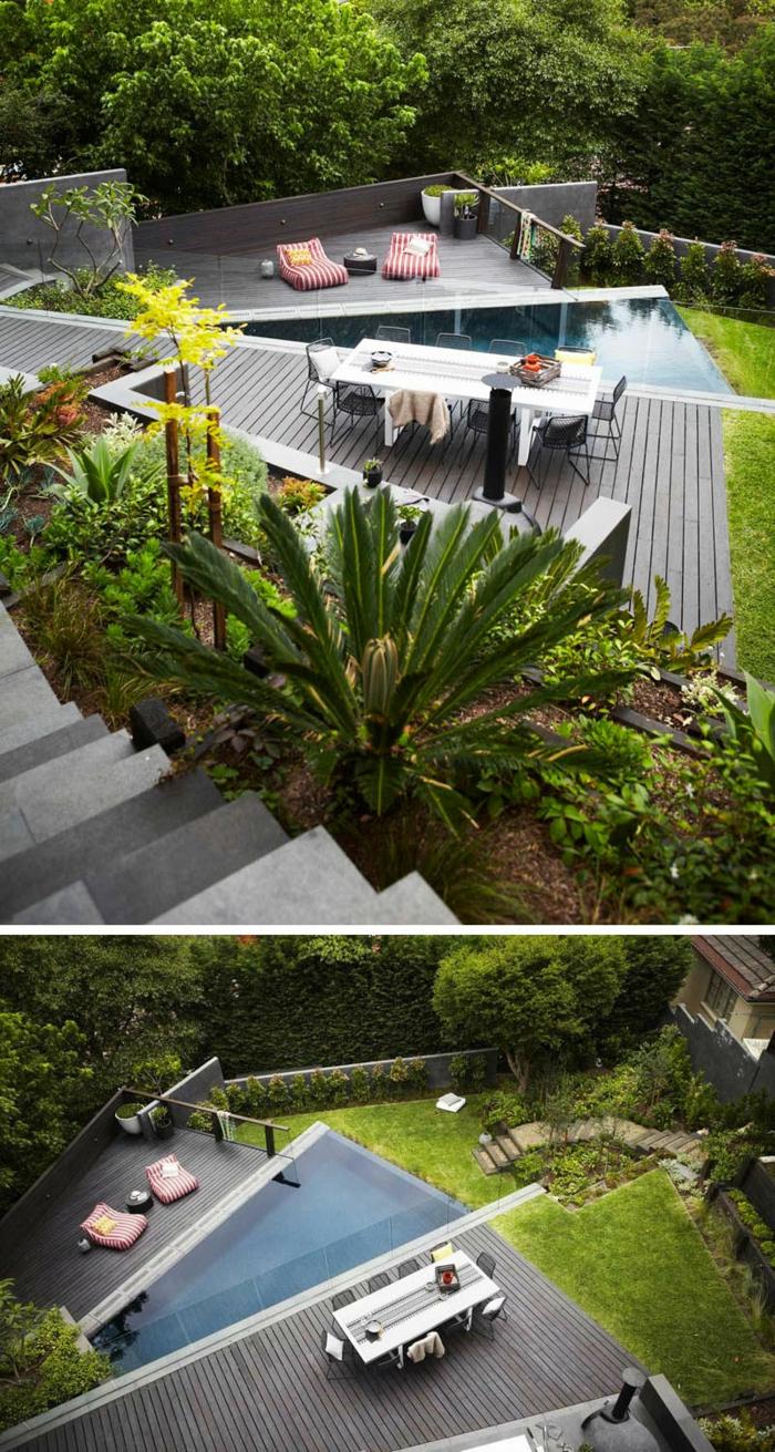Gartengestaltung Ideen für einen modernen Garten, ein Teich, zwei Liegestühle, und Esstisch