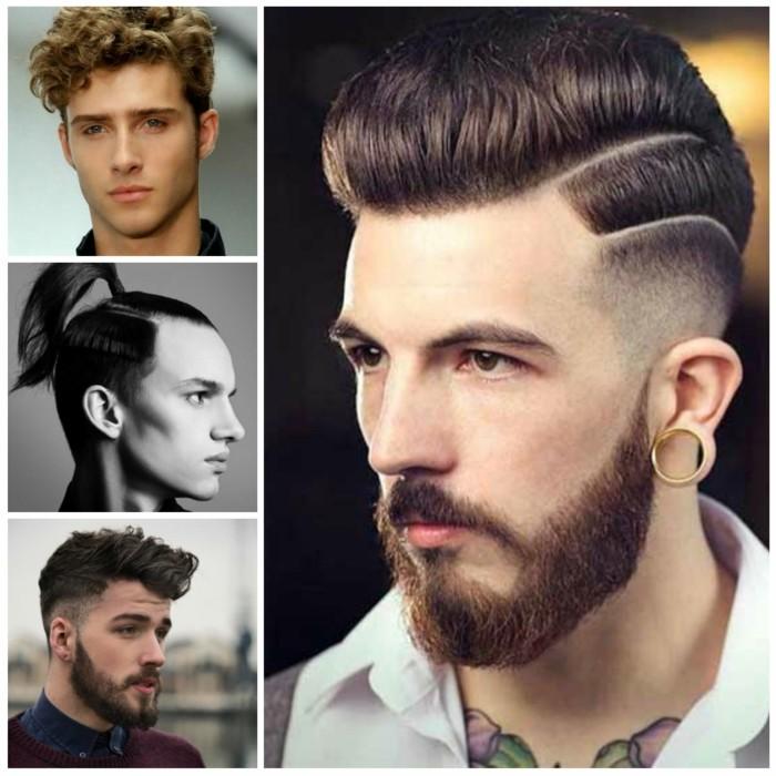 männerfrisuren, haare stylen ideen, collage mit vier männer, bart und haarstyle, ausgefallene ideen mode für männer
