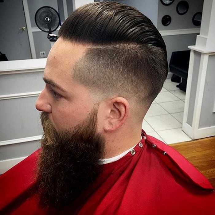 Mittellange Haare Schnitt Ideen inklusive trendy Frisur, lange Bart Styles, Haare modern gestalten