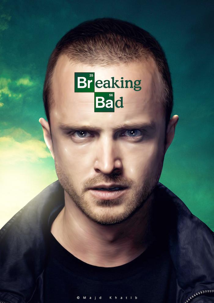 der schauspieler aaron paul, der die hauptrolle vom neuen breaking bad film spielt. ein poster von der breaking bad serie mit einem grünen himmel und jesse pinkman