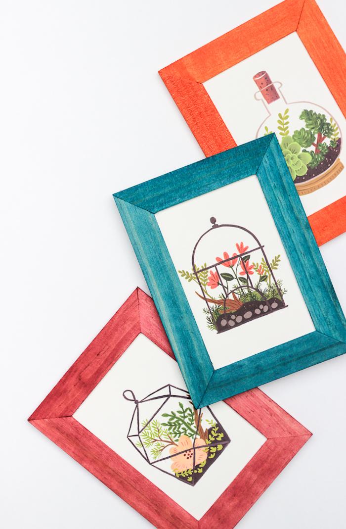 Bilderrahmen aus Holz bunt bemalen, in Rot, Blau und Orange, schönes DIY Geschenk für jeden Anlass