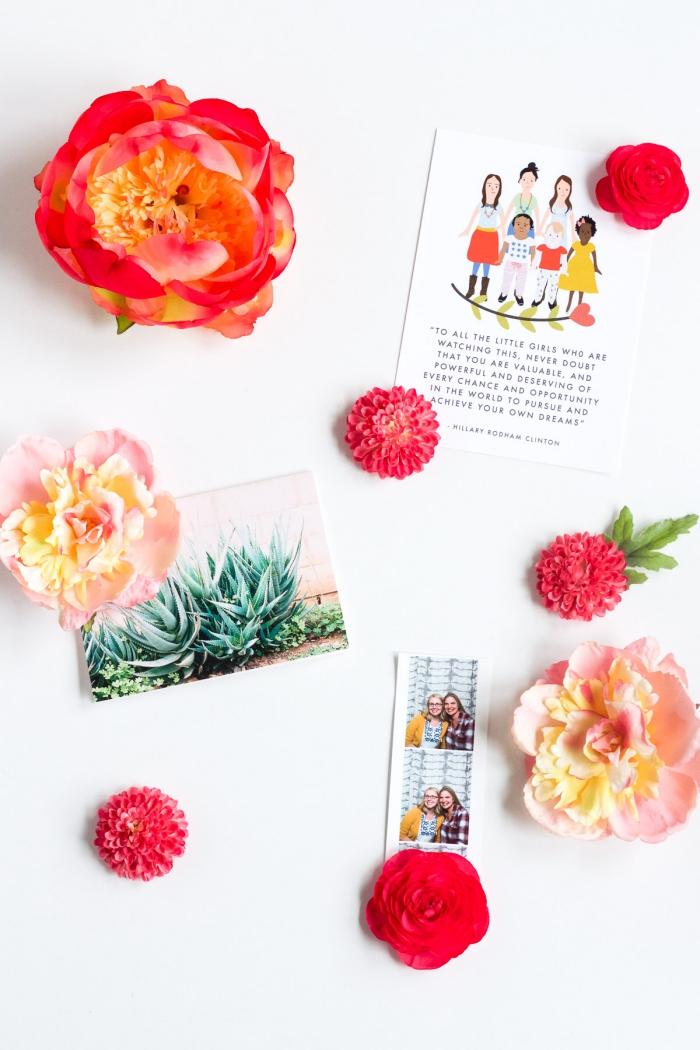 karte muttertag basteln, rosa kunstblumen, geschenk für frau, fotocollage