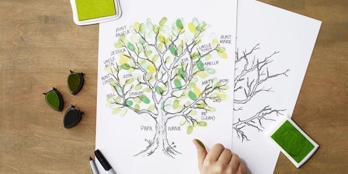 Bastelideen Kinder, Familienbaum zeichnen und mit Grün und Gelb einfärben, schöne Blätter gestalten