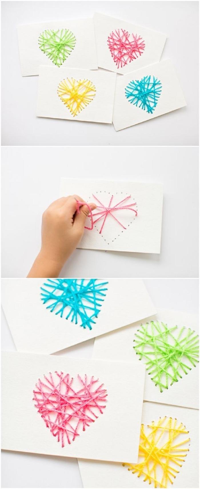 Bastelideen Kinder, Valentinstag Karten von dem Kind für Mama und Papa, Herzchen mit Faden auf Papier machen