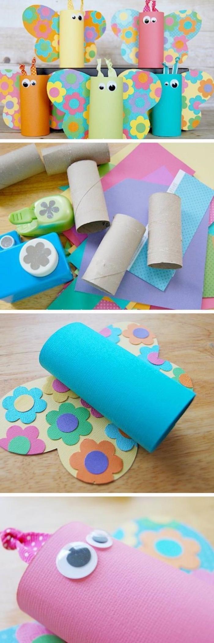 Bastelideen Kinder, Klorollen zu bunten Schmetterlingen verwandeln, blaues Papier, Blumen auf Papier aufkleben