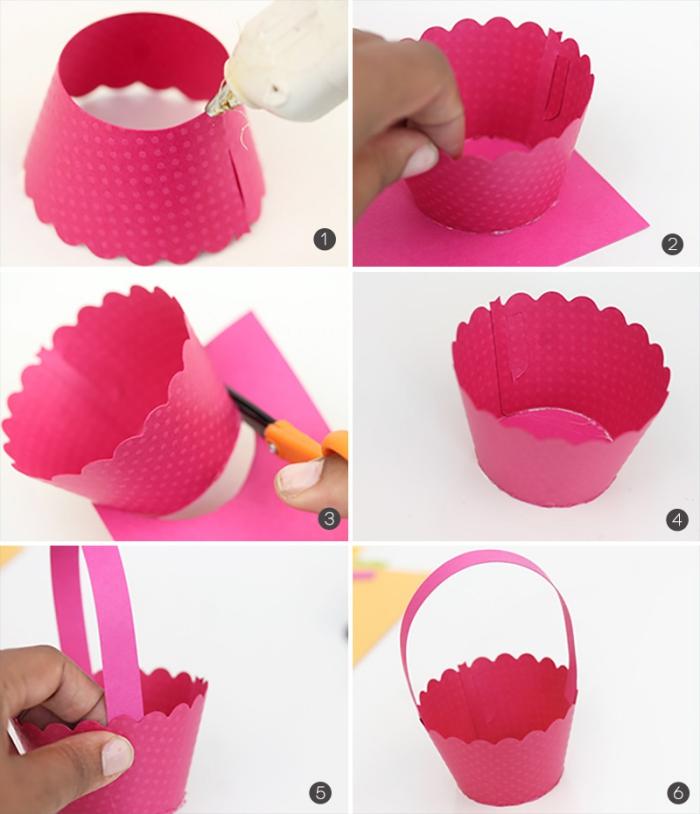 körbchen basteln aus rosa papier, korb selber machen, diy anleitung