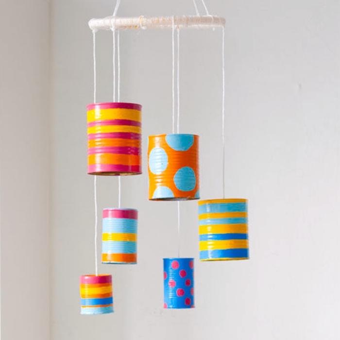 Lustige Bastelideen, Baby Spielzeuge oder Sommerdeko für das Zuhause, Basteln mit Konservendosen, Dosen bemalen und dekorieren