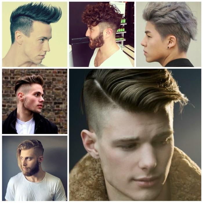 frisuren kurz, inspo für männer, collage bild idee sechs bilder klein, moderner mann mit stil