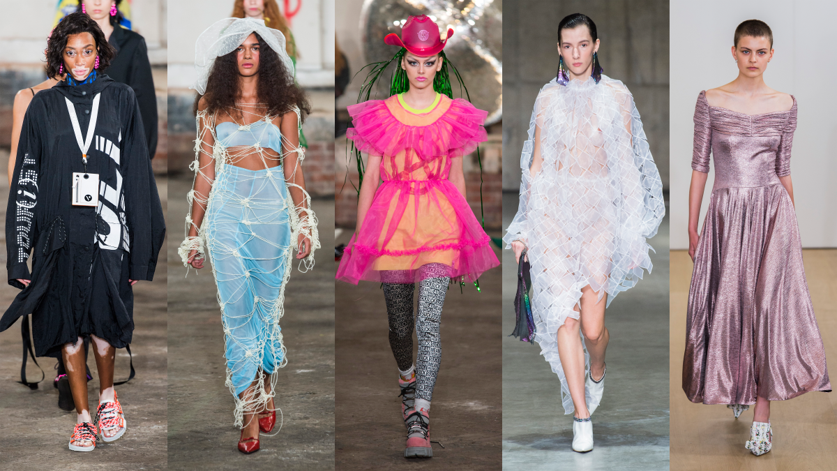 london fashion week ideen für damenmode designs, fünf modele auf der bühne, kreative und nachhaltige kleidung