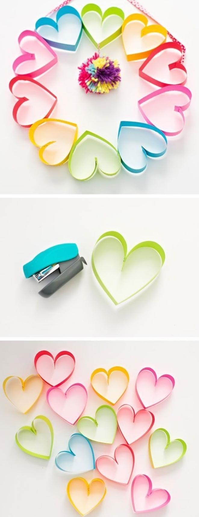 einfache Bastelideen zum Valentinstag, Herzchen, Herzform Dekorationen, Herz aus Papier machen
