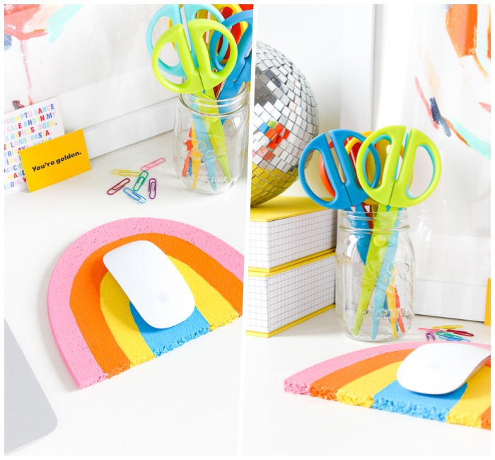 muttertagsgeschenk basten, mousepad regenbogen selber machen, bunte scheren, schreibtisch