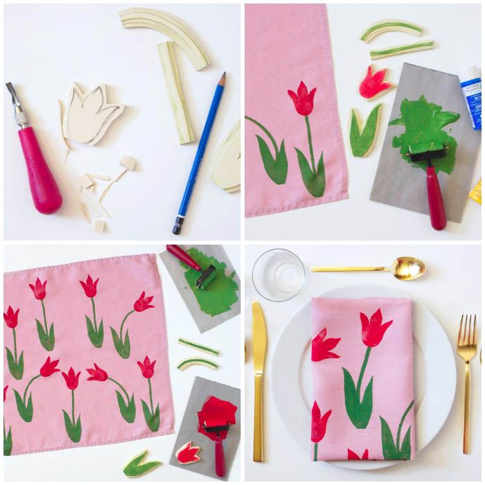 muttertagsgeschenk basteln, servietten mit tulpen dekorieren, stoff stempeln, tischdeko selber machen