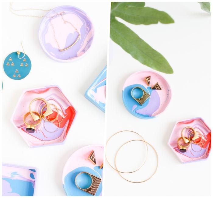 muttertagsgeschenk basteln, goldene ringe, schmuckschalen in bunten farben, anleitung