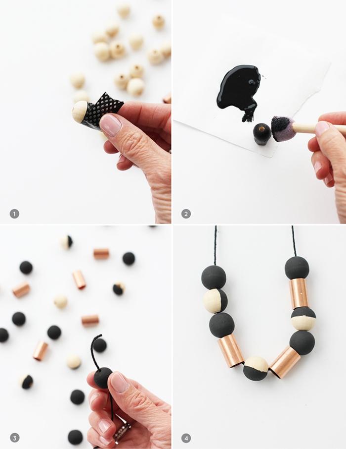 muttertagsgeschenk basteln, holzperlen schwarz färben, halskette selber machen