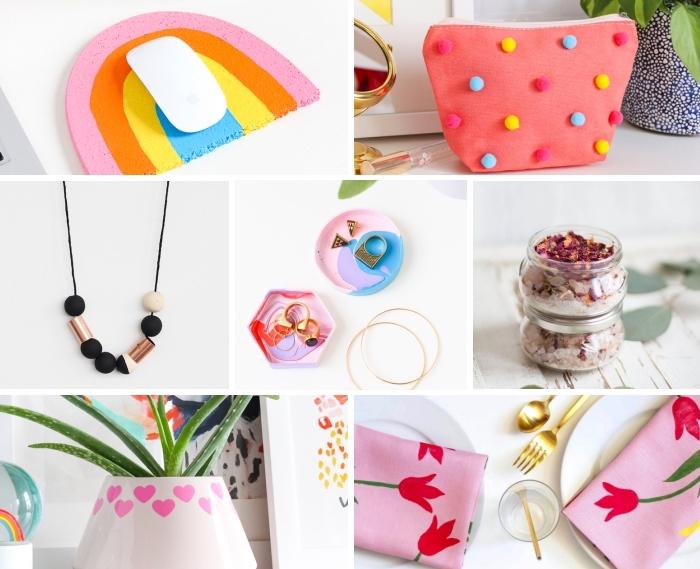 muttertagsgeschenk basteln, kosmetiktasche mit pompons, mousepad regenbogen, selbstgemachte schmuckschalen