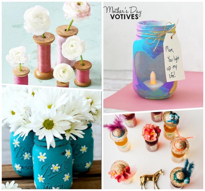 kleine vasen, weiße blumsen, basteln mit einmachgläsern, muttertagsgeschenk diy, kleine hute