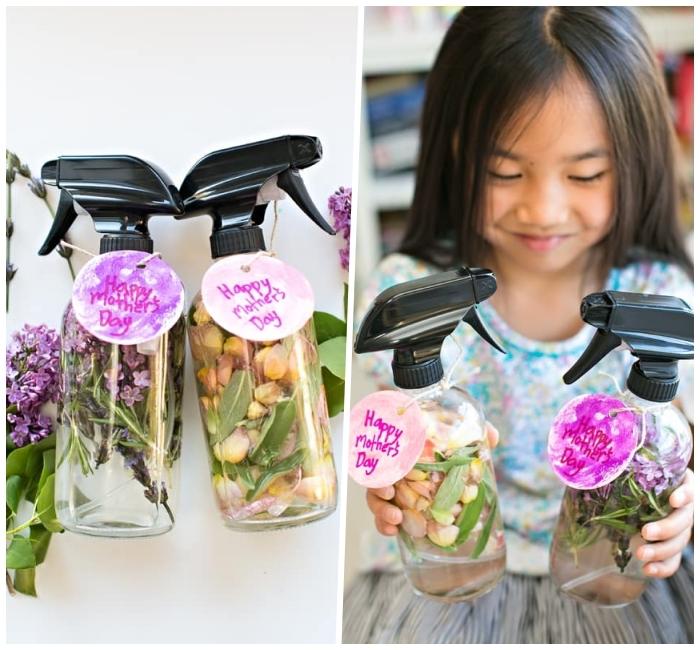 muttertagsgeschenk selber machen, kleines mädchen, selsbtgemachtes parfüm mit getrockneten kräutern