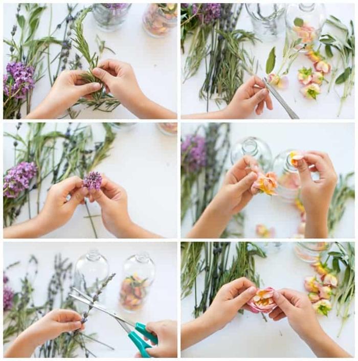 muttertagsgeschenk selber machen, parfüm mit getrockneten blütenblätter anleitung