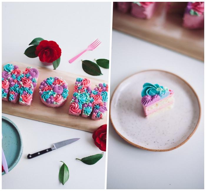 muttertagsgeschenk selbstgemacht, rote blumen, torte mit vanille dekoriert mit buttercreme
